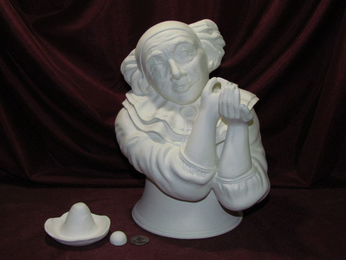 Ceramic Bisque Bust Clown pyop unpainted ready to paint diy
