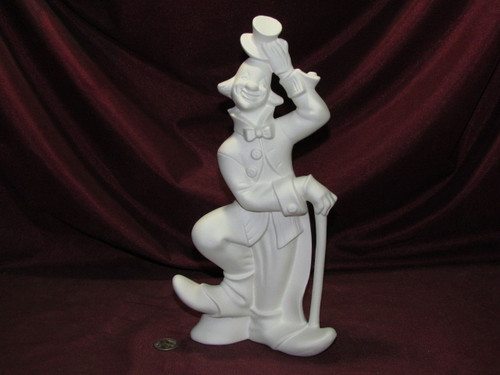 Ceramic Bisque Clown With Hat & Cane pyop unpainted ready to paint diy