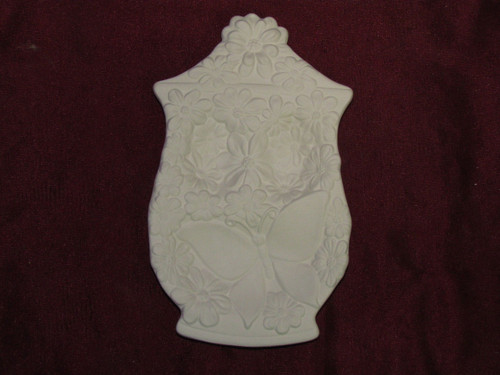 Ceramic Bisque Spoon Rest With Flowers & Butterfly pyop unpainted ready to paint diy