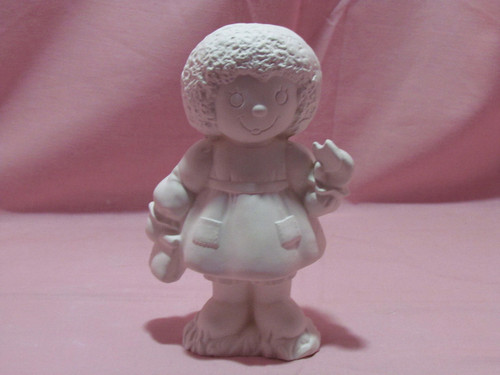 Ceramic Bisque Raggedy Ann With A Cookie pyop unpainted ready to paint diy