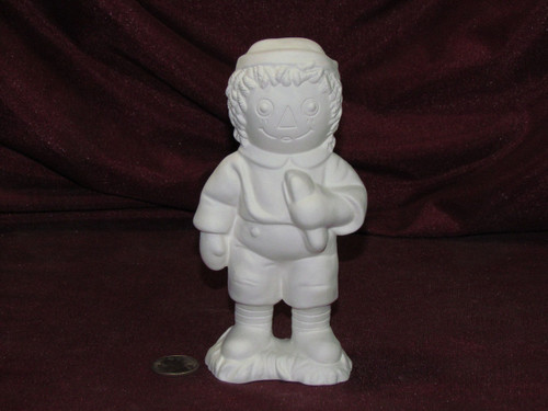 Ceramic Bisque Raggedy Andy With Hot Dog  pyop unpainted ready to paint diy
