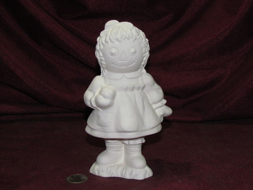 Ceramic Bisque Raggedy Ann With An Apple  pyop unpainted ready to paint diy