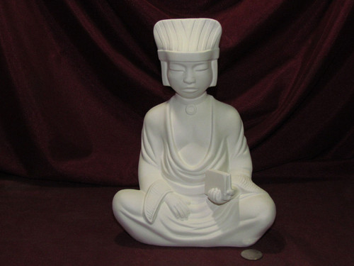 Ceramic Bisque Oriental Man With Book  pyop unpainted ready to paint diy