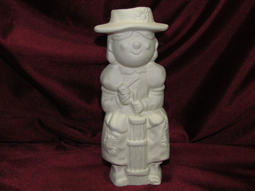 Ceramic Bisque Hillbilly Woman Churning Butter pyop unpainted ready to paint diy