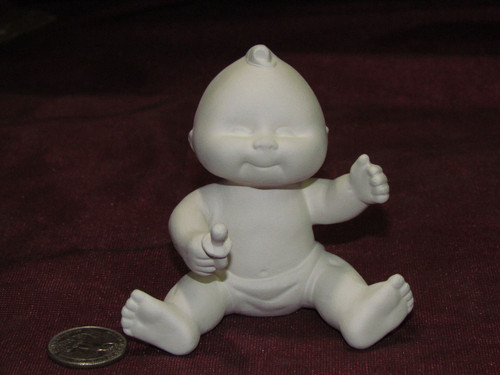 Ceramic Bisque Baby Orphan Sitting With A Pacifier pyop unpainted ready to paint diy