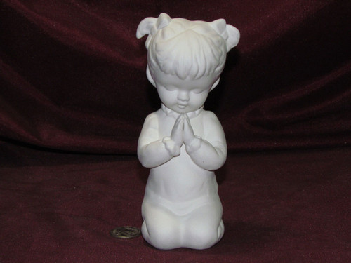 Ceramic Bisque Little Girl Praying pyop unpainted ready to paint diy