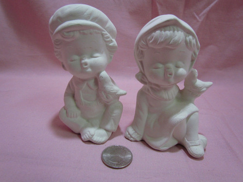 Ceramic Bisque Cute Boy & Girl Making Kissy Faces pyop unpainted ready to paint diy