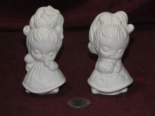 Ceramic Bisque 2 Vintage Little Girls With Big Hair pyop unpainted ready to paint diy
