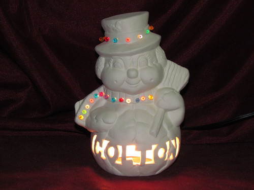 Ceramic Bisque Softy Snowman Lamp Customized pyop unpainted ready to paint diy