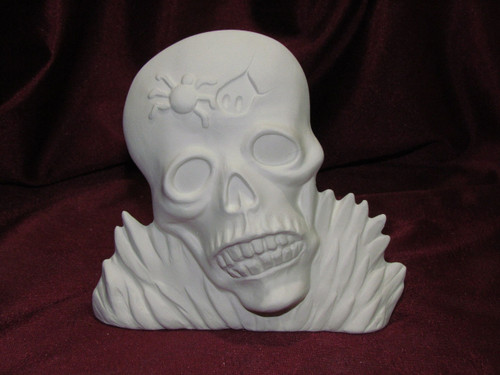 Ceramic Bisque Skull With Spider pyop unpainted ready to paint diy