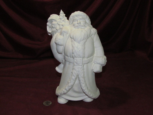 Ceramic Bisque Santa Claus With Toy Bag & Bell pyop unpainted ready to paint diy