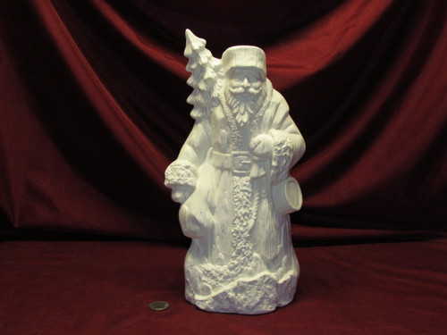 Ceramic Bisque Santa Claus Woodgrain With Textured Back pyop unpainted ready to paint diy