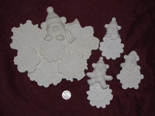 Ceramic Dona's Snowflake Bears For Wreath pyop unpainted ready to paint diy