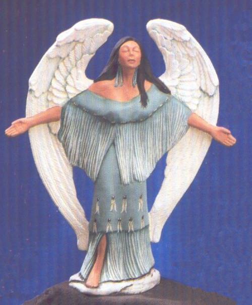 Ceramic Bisque Native American Angel Receiving The Spirit