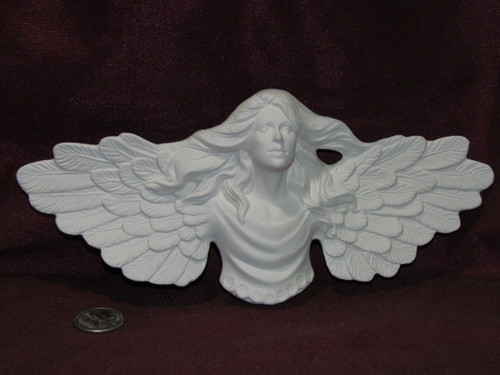 Ceramic Bisque  Angel with Long Hair Christmas Ornament Doc Holliday pyop unpainted ready to paint diy