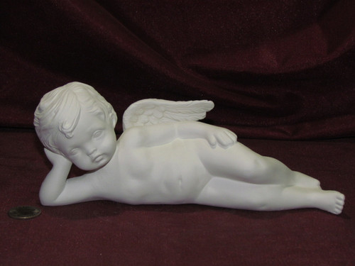 Ceramic Bisque Cherub Lying on Side pyop unpainted ready to paint diy