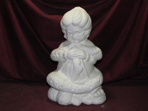 Ceramic Bisque Mrs Santa Claus Knitting