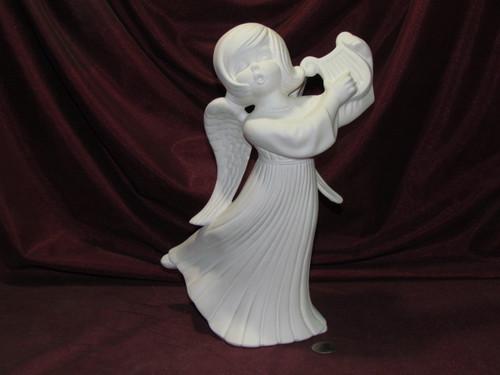 Ceramic Bisque Angel with Lyre ~ Harp