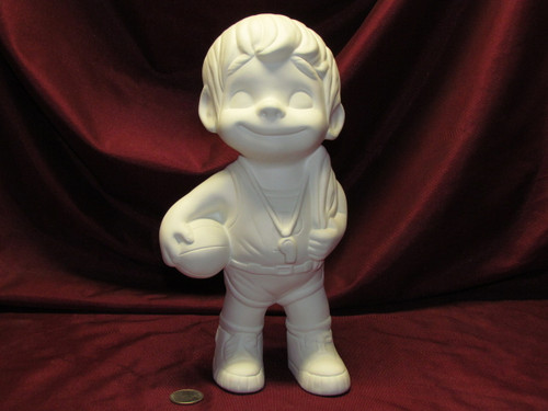 Ceramic Bisque Happy Smiley Figurine Basketball  pyop unpainted ready to paint diy
