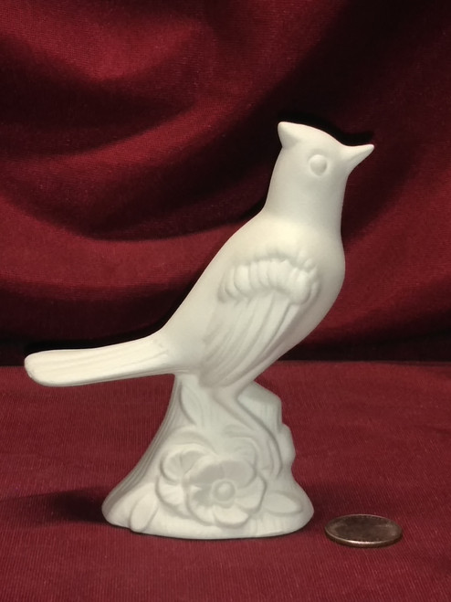Ceramic Bisque Bird Sitting on base with Flower pyop unpainted ready to paint diy
