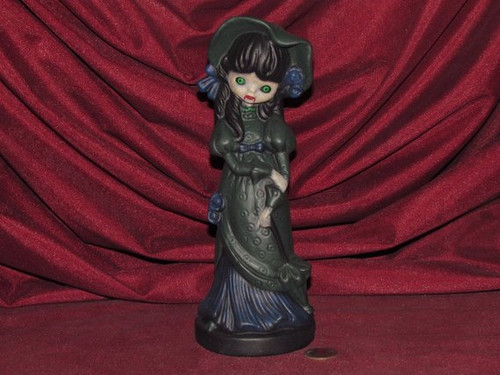 Gothic Vampire Witch Girl Figurine With Parasol ~ Hand Painted Bisque ~ Ready to Display
