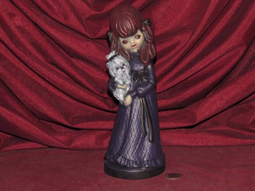 Gothic Vampire Witch Girl Figurine With Dog ~ Hand Painted Bisque ~ Ready to Display