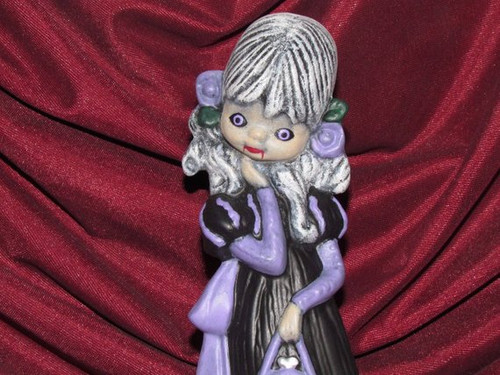 Gothic Vampire Witch Girl Figurine With Purse ~ Hand Painted Bisque ~ Ready to Display