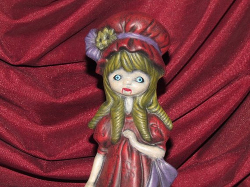 Gothic Vampire Witch Girl Figurine With Bonnet  ~ Hand Painted Bisque ~ Ready to Display