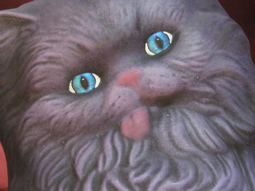 Purple Cat with Pink Tongue & Blue Eyes ~ Hand Painted Bisque ~ Ready to Display
