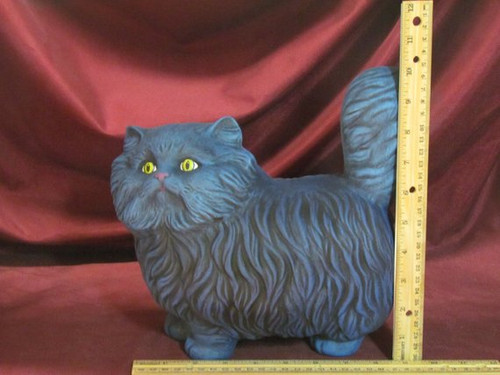 Blue Cat with Yellow Eyes ~ Hand Painted Bisque ~ Ready to Display
