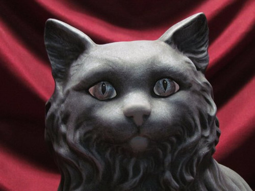 Grey Sitting Cat with Silvery Eyes ~ Hand Painted Bisque ~ Ready to Display