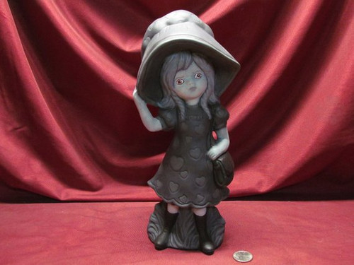 Black & White Sabrina With Red Eyes ~ Hand Painted Bisque ~ Ready to Display