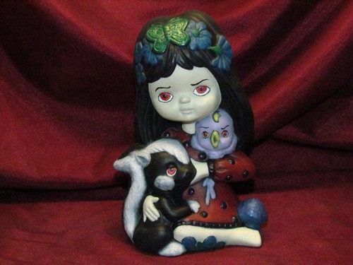 Little Demon Girl & Her Evil Critters ~ Hand Painted Bisque ~ Ready to Display