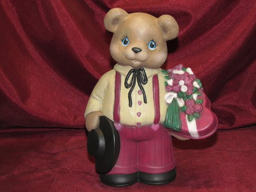 Valentine's Day Teddy Bear Boy ~ Hand Painted Bisque ~ Ready to Display