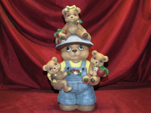 Papa Strawberry Bear ~ Hand Painted Bisque ~ Ready to Display