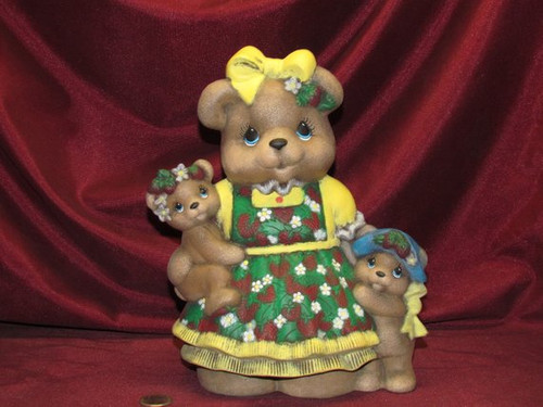 Mama Strawberry Bear  ~ Hand Painted Bisque ~ Ready to Display
