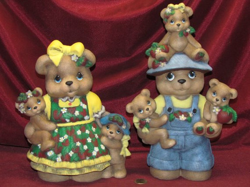 Mama and Papa Strawberry Bear ~ Hand Painted Bisque ~ Ready to Display