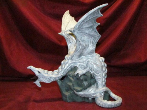 White Dragon With Silver Glitter ~ Hand Painted Bisque ~ Ready to Display