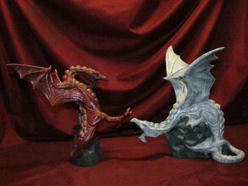 White & Red Fighting Dragons ~ Hand Painted Bisque ~ Ready to Display