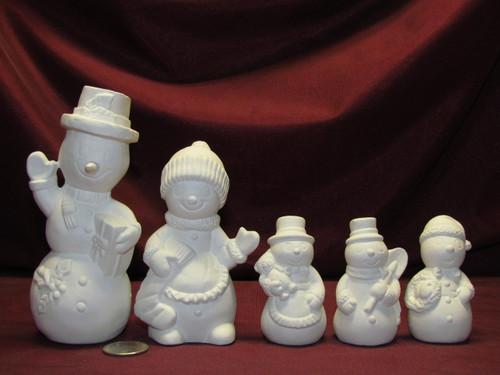 Ceramic Bisque U Paint Snowman Family
