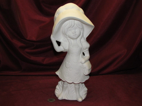 Ceramic Bisque Evergreen Girl Sabrina ~ Big Bonnet Girl with Purse ~ Hearts on Dress and Bonnet  pyop unpainted ready to paint diy