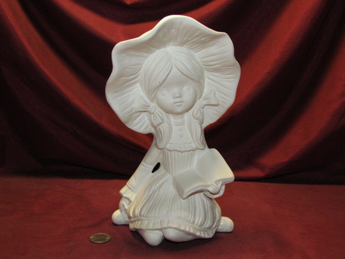 Ceramic Bisque Evergreen Girl Wendy ~ Bonnet Girl Sitting With Book pyop unpainted ready to paint diy