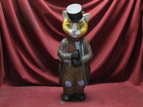 Sir Boogen ~ large hobo cat person in a hat with a removable cane ~ Hand Painted Bisque ~ Ready to Display