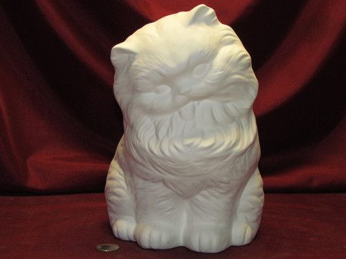 Ceramic Bisque Cat With Tongue Out pyop unpainted ready to paint diy