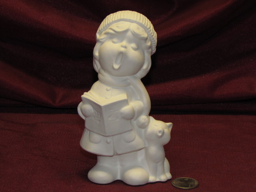 Ceramic Bisque U Paint Vintage Girl Caroler w Cat and Book Ready to Paint Christmas Winter Cute