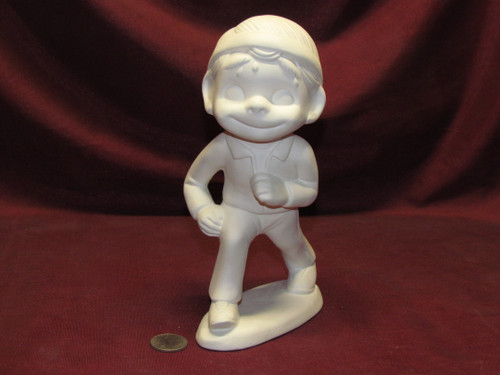 Ceramic Bisque Small Happy Smiley Jogger - Runner pyop unpainted ready to paint diy