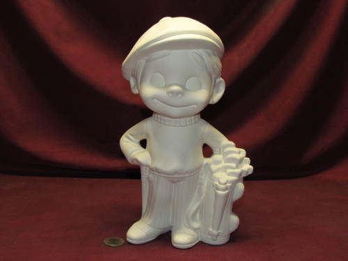 Ceramic Bisque Happy Smiley Golfer pyop unpainted ready to paint diy