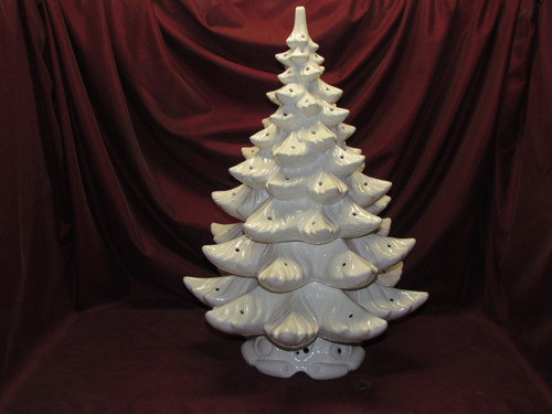 Large Atlantic Christmas Tree ~ 4 Piece Ceramic Lamp ~ White Glaze ~ Finished & Ready to Display
