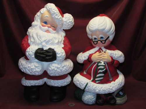 Large Mr & Mrs Santa Claus ~ Hand Painted Ceramic Bisque ~ Ready to Display