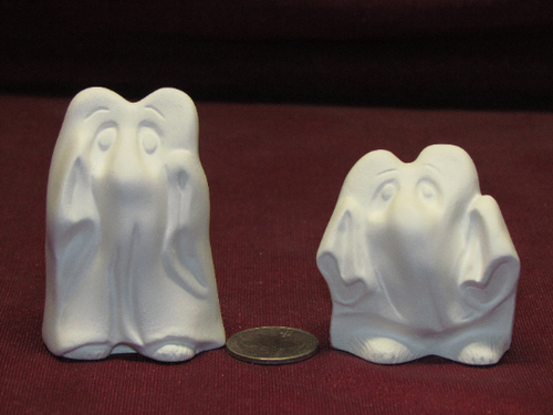 Ceramic Bisque U-Paint Set of 2 - Mouse Ghosts Halloween Fall ~ Ready to Paint Unpainted DIY